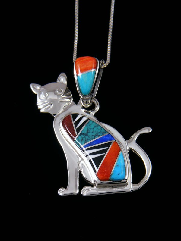 Native American Spiny Oyster Cat Inlay Pendant