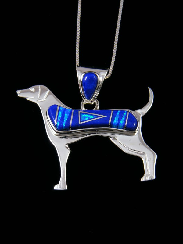 Native American Lapis Dog Inlay Pendant