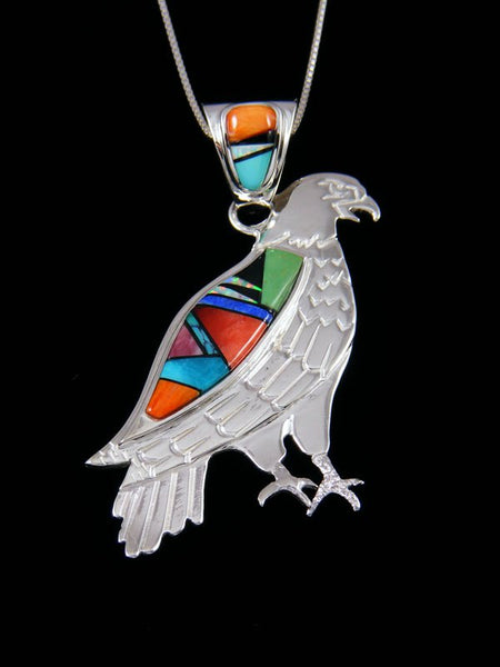 Navajo Inlay Spiny Oyster and Turquoise Eagle Pendant