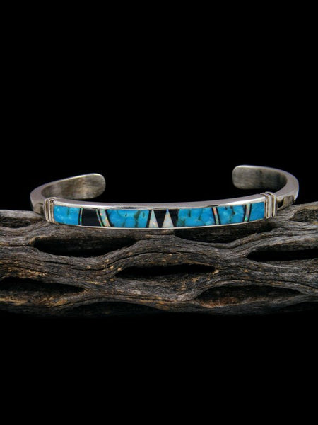 Native American Indian Turquoise and Opalite Inlay Bracelet