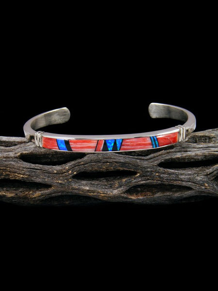 Native American Indian Spiny Oyster and Opalite Inlay Bracelet