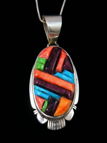 Navajo Cobblestone Inlay Sterling Silver Spiny Oyster Pendant