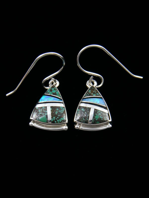 Native American Sterling Silver Turquoise Mosaic Inlay Earrings