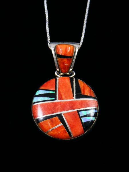 Native American Sterling Silver Spiny Oyster Inlay Pendant