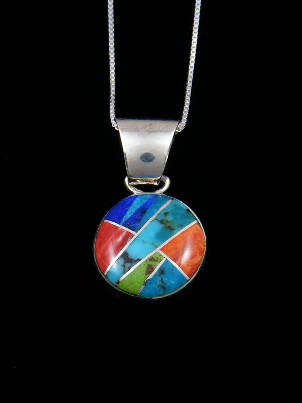 Native American Sterling Silver Turquoise Inlay Pendant