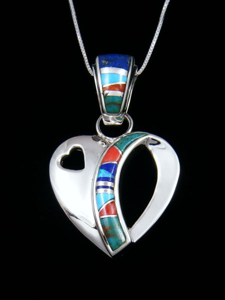 Native American Turquoise Inlay Double Heart Pendant