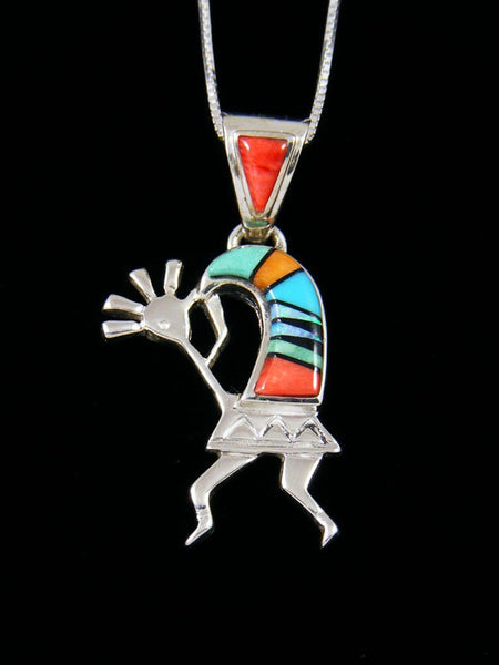 Native American Spiny Oyster and Turquoise Kokopelli Inlay Pendant