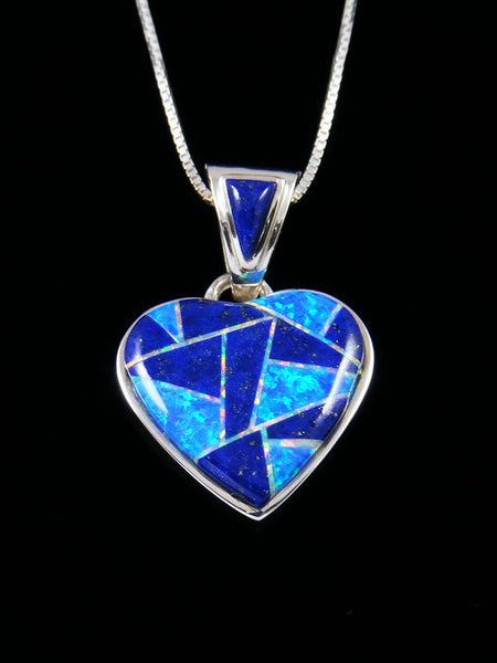 Native American Inlay Lapis and Opalite Heart Pendant