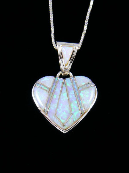 Native American Inlay Opalite Heart Pendant
