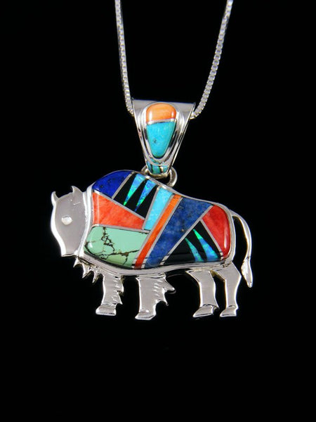 Native American Spiny Oyster Buffalo Inlay Pendant