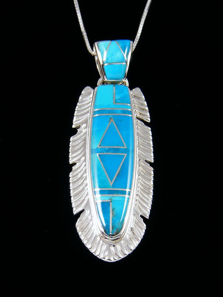 Navajo Inlay Turquoise Feather Pendant