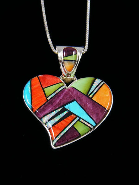 Native American Inlay Turquoise and Spiny Oyster Heart Pendant