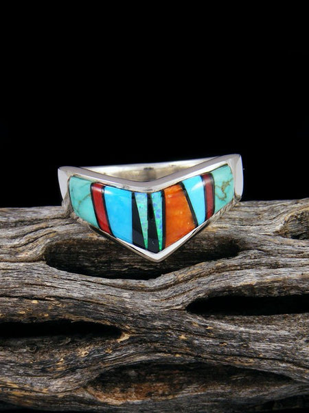 Turquoise and Spiny Oyster Inlay Ring, Size 8 1/2