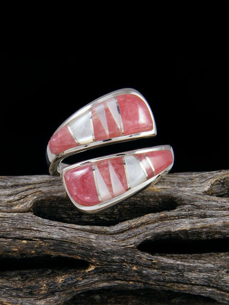 Adjustable Rhodochrosite and Mother of Pearl Inlay Ring