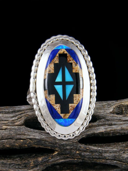 Lapis and Turquoise Inlay Ring, Size 8