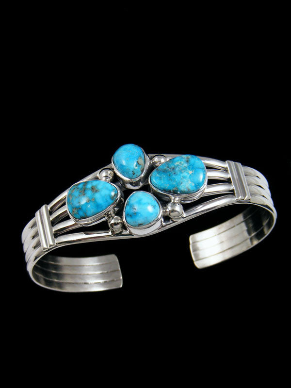 Native American Indian Jewelry Sterling Silver Turquoise Bracelet by check - PuebloDirect.com