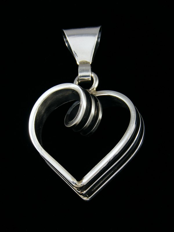 Navajo Sterling Silver Twisted Heart Pendant
