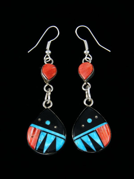 Onyx and Turquoise Navajo Inlay Dangle Earrings