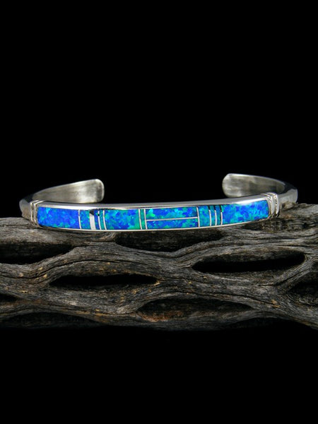 Native American Indian Blue Opalite Inlay Bracelet