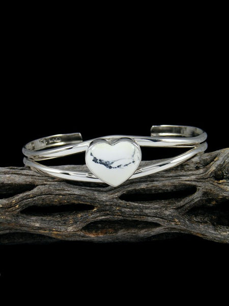 Native American Sterling Silver White Buffalo Heart Cuff Bracelet