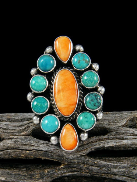 Turquoise and Spiny Oyster Ring, Size 9 1/2