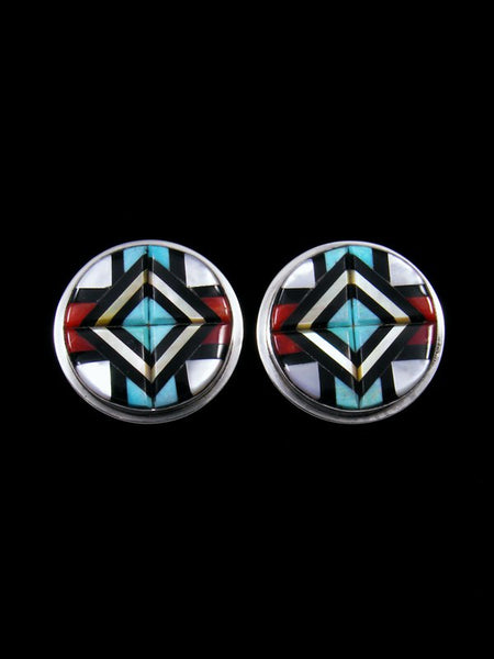 Sterling Silver Zuni Inlay Turquoise and Coral Earrings