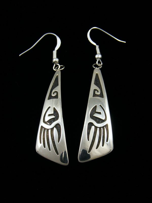 Sterling Silver Hopi Style Overlay Bear Paw Earrings