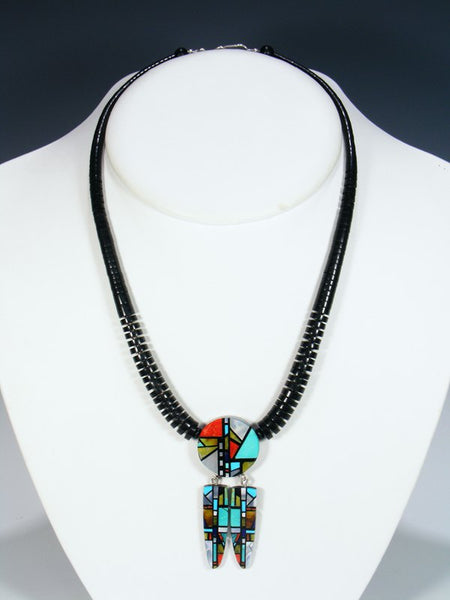 Native American Santo Domingo Black Jet Inlay Feather Necklace
