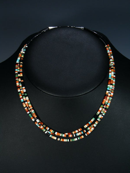 Native American Indian Bead Multi Stone Santo Domingo 3 Strand Necklace