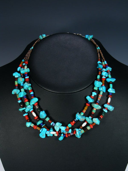 Native American Turquoise and Spiny Oyster Choker Necklace