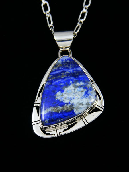 Native American Lapis Sterling Silver Pendant