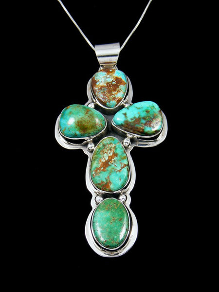 Native American Kingman Turquoise Cross Necklace