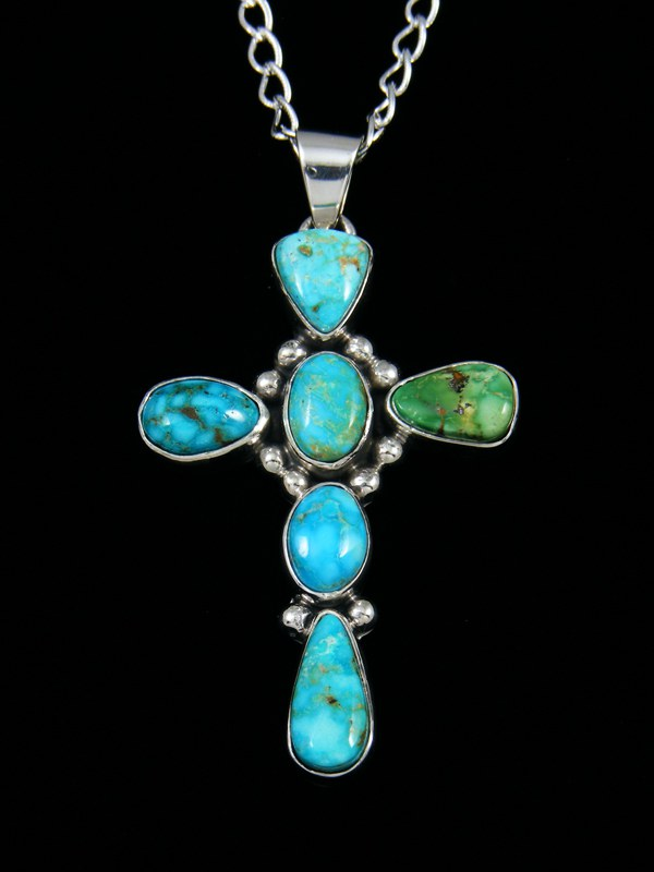 Native American Kingman Turquoise Cross Pendant
