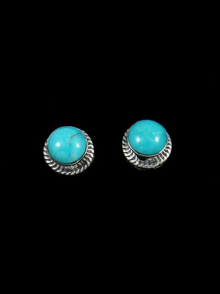 Turquoise Mountain Native American Jewelry Sterling Silver Post Earrings