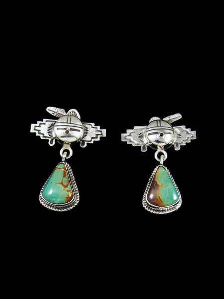Navajo Turquoise Kachina Post Earrings