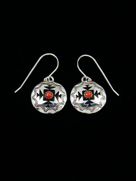 Sterling Silver Coral Shadowbox Dangle Earrings