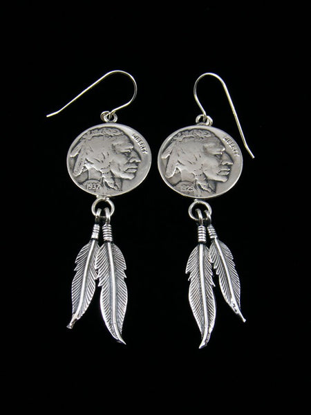 Navajo Buffalo Nickel Sterling Silver Feather Dangle Earrings