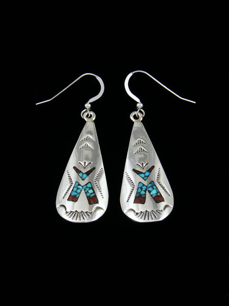Navajo Turquoise and Coral Chip Inlay Earrings