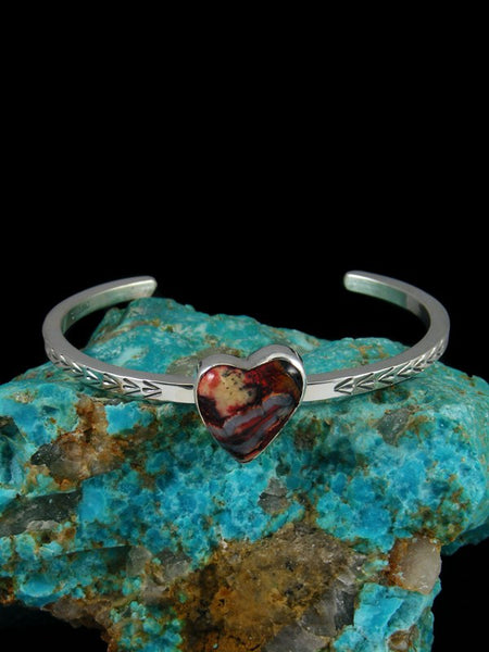 Navajo Sterling Silver Fossilized Mammoth Tooth Heart Bracelet
