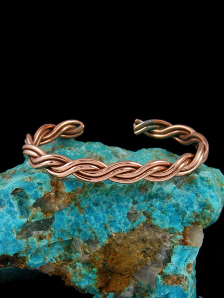 Native American Braided Rope Copper Cuff Bracelet