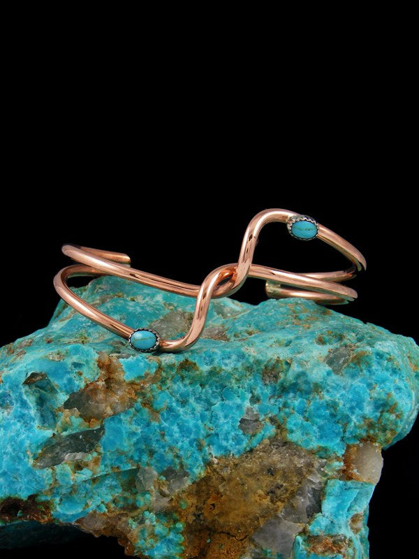 Navajo Twisted Copper and Turquoise Wave Bracelet