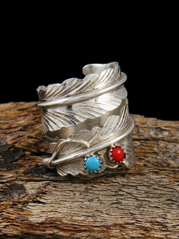 Turquoise and Coral Sterling Silver Feather Ring Adjustable