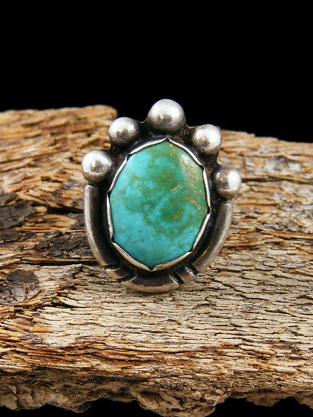 Vintage Native American Sterling Silver Turquoise Ring, Size 5.5