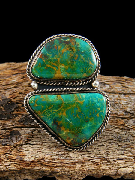 Native American Sterling Silver Manassa Turquoise Ring Size 9