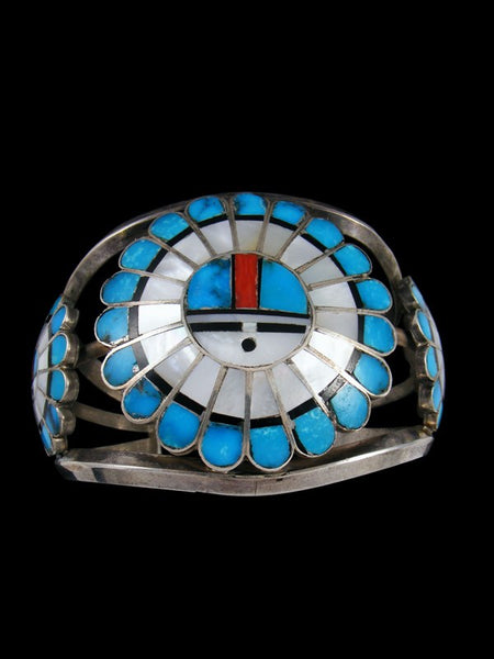Old Pawn Indian Zuni Inlay Sterling Silver Sunface Bracelet