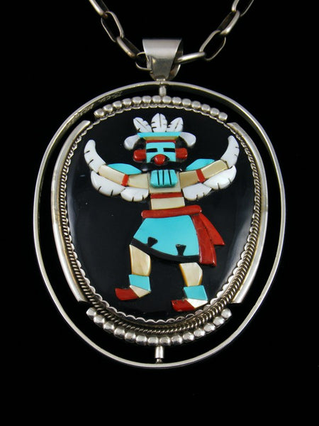 Vintage Sterling Silver Zuni Inlay Large Spinner Pendant