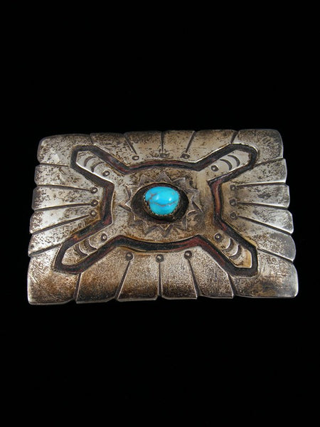 Old Pawn Indian Jewelry Sterling Silver Turquoise Buckle