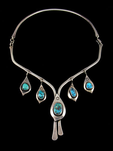 Estate Indian Jewelry Sterling Silver Turquoise Collar Necklace