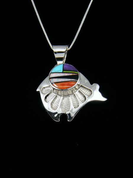 Navajo Indian Sterling Silver Multi-Stone Inlay Bear Pendant