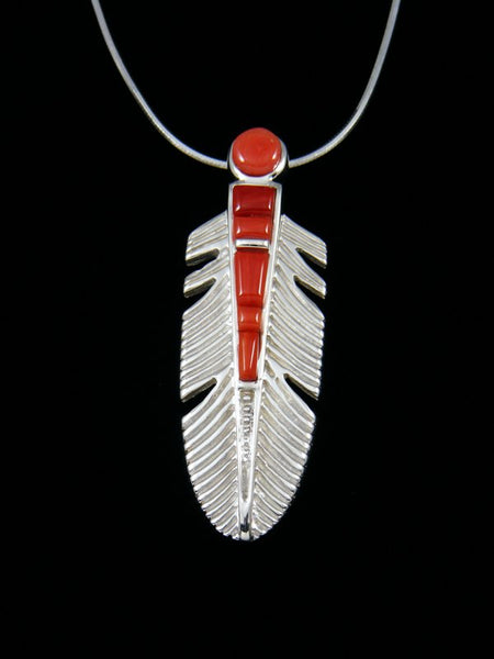 Coral Cobblestone Feather Inlay Pendant